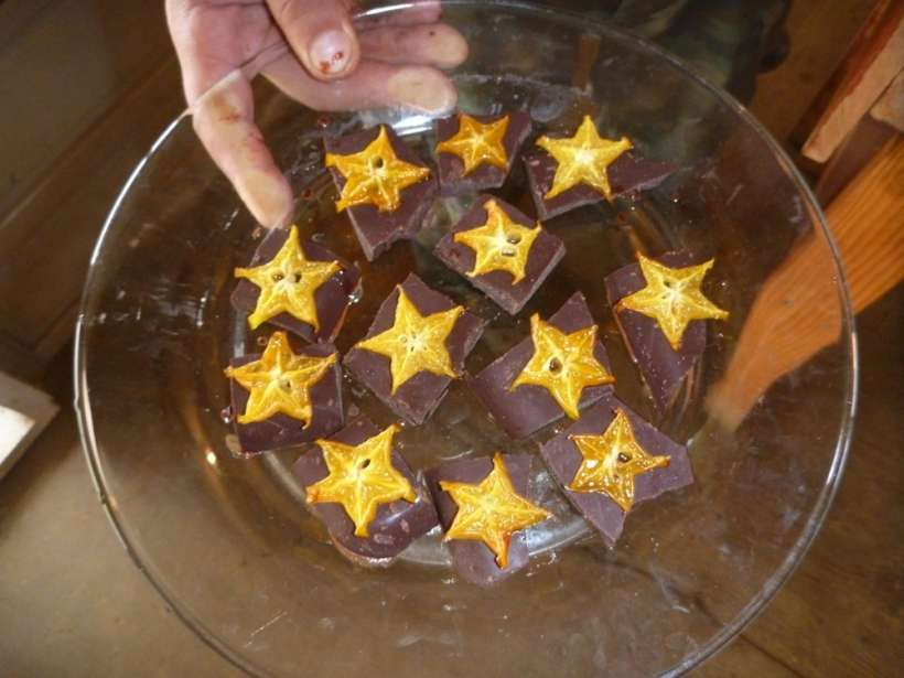 raw chocolate candied star fruit