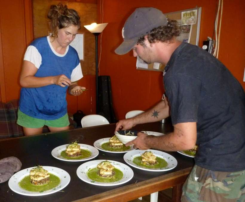 plating raw vegan dinner