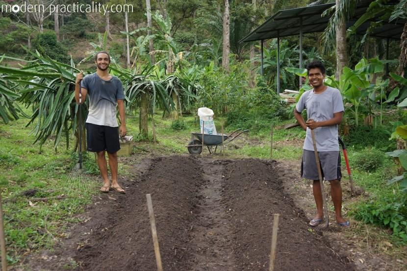 Matt and Arafat, the hard working farmers.
