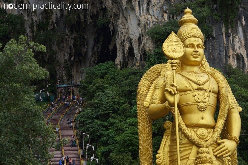 Murugan, a Hindu deity, stands 140 feet hight at the entrance of the caves.