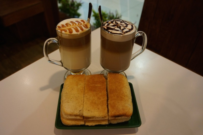 Mocha, caramel latte and kaya bread. Our favorite breakfast in Malaysia.